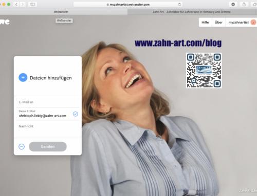 Filesharing bis 20GB mit MyZahnArtist auf wetransfer.com